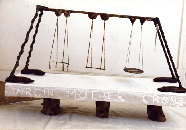 Meditations on The Female Trinity, The Virgin, Mother and Crone; 1991. Wood with cloth, beads, metal, pitch and rope