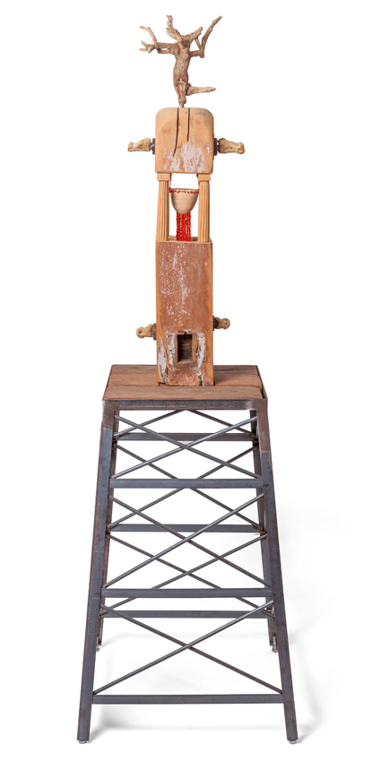 Tower IV, 2013-16. Wood with jelutong, cow bones and metal, 57 x 181 x 57 cm