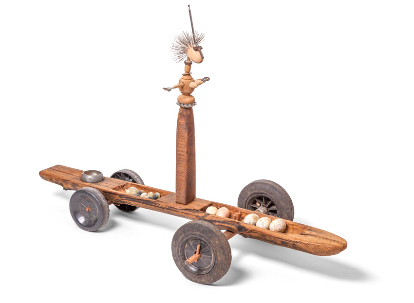 Queen VI, 2015-16. Wood with radio aerial, silver spoons, bicycle gears, pewter bowl and other found objects, 116 x 81 x 57 cm