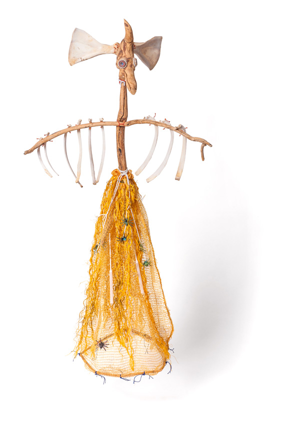 Guardian II, 2014-15. Wood with bones, metal, beads, plastic, rope, string and cane, 116 x 63 x 30 c