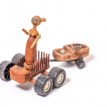 Queen I, 2013-16. Wood with jelutong, plastic wheels, keys, metal and tea strainer, 61 x 43 x 35 cm
