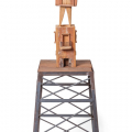 Tower III, 2013 - 16. Wood with jelutong, mirror, umbrella, metal drill, nails and crocheted pieces, 57 x 178 x 57 cm