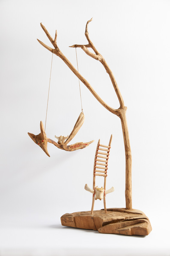 Ancestor Chair 3, 2017. Wood with vertebrae, gold-leaf, lucky beans and beads, 75 x 41 35 cm