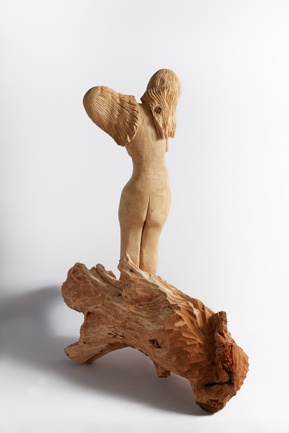 Adam and Eve, 2017-18. Wood with spiral shell and beads, 76 x 70 x 31 cm