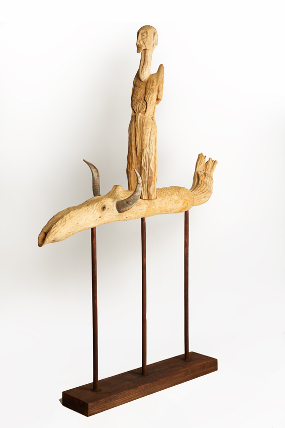 St. Francis Listening to the Birds, 2017-18. Wood with goat horns, metal, spiral fossil and beads, 200 x 140 x 35 cm