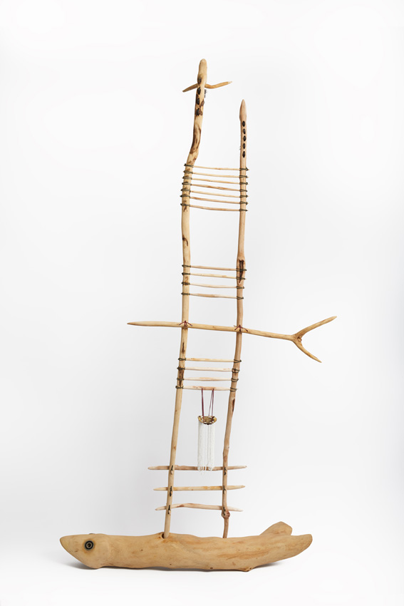 Praise Song, 2018.  wood with metal, nylon hair, terrapin shell and beads, 82 x 162 x 19 cm