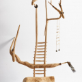 Ancestor Chair 4, 2017.  Wood with gold-leaf, beads, rubber, porcupine quills and an animal tail, 81 x 56 x 37 cm