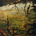 Kim Berman - Red ribbons on a pond I