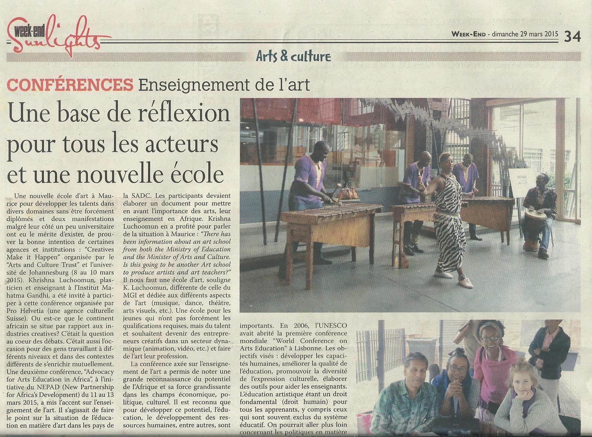 Conférences Enseignement de l'art. Week-End. 29 March 2015