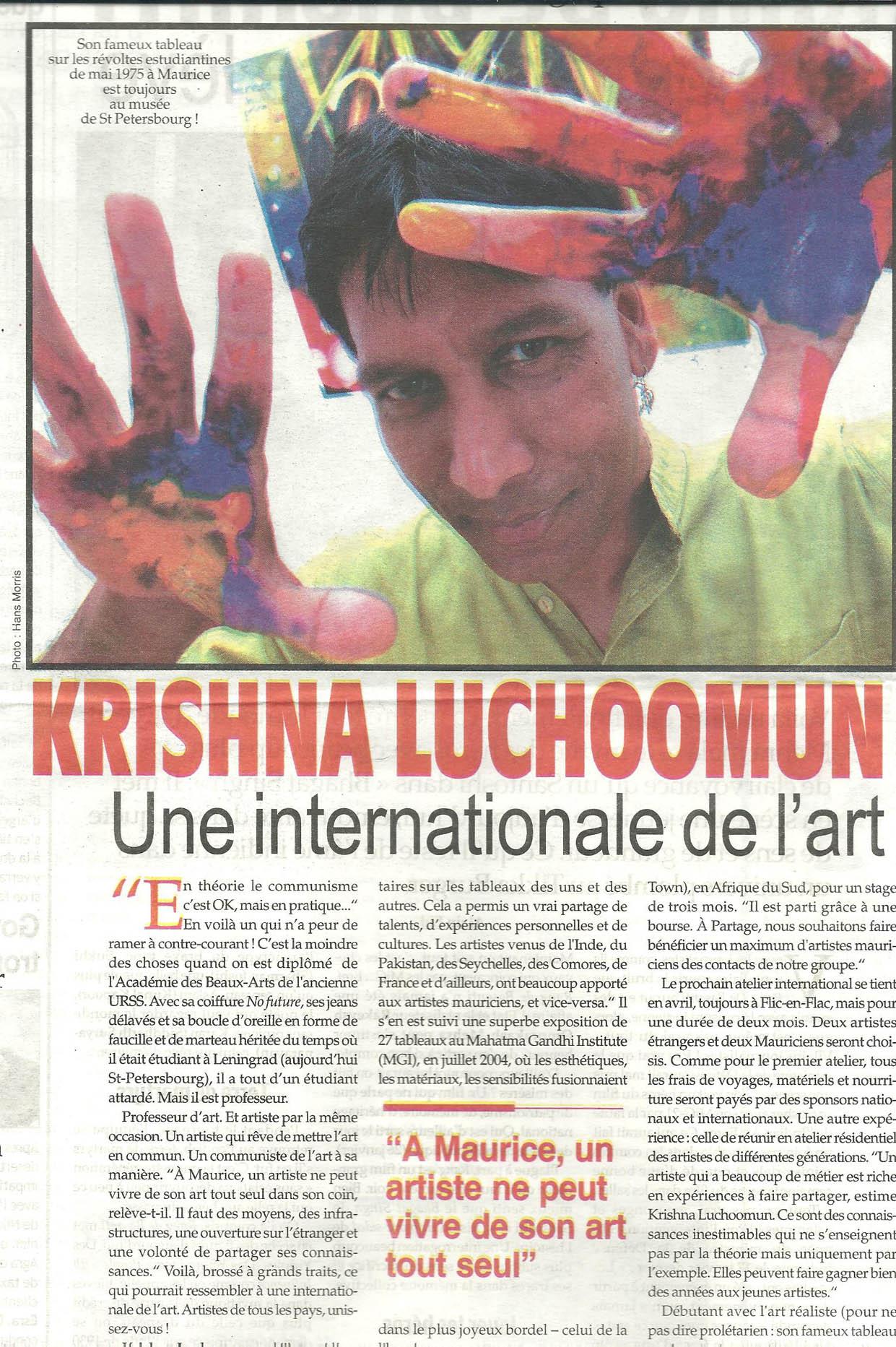 Krishna Luchoomun, Une internationale de l'art. L`HEBDO. January 2016