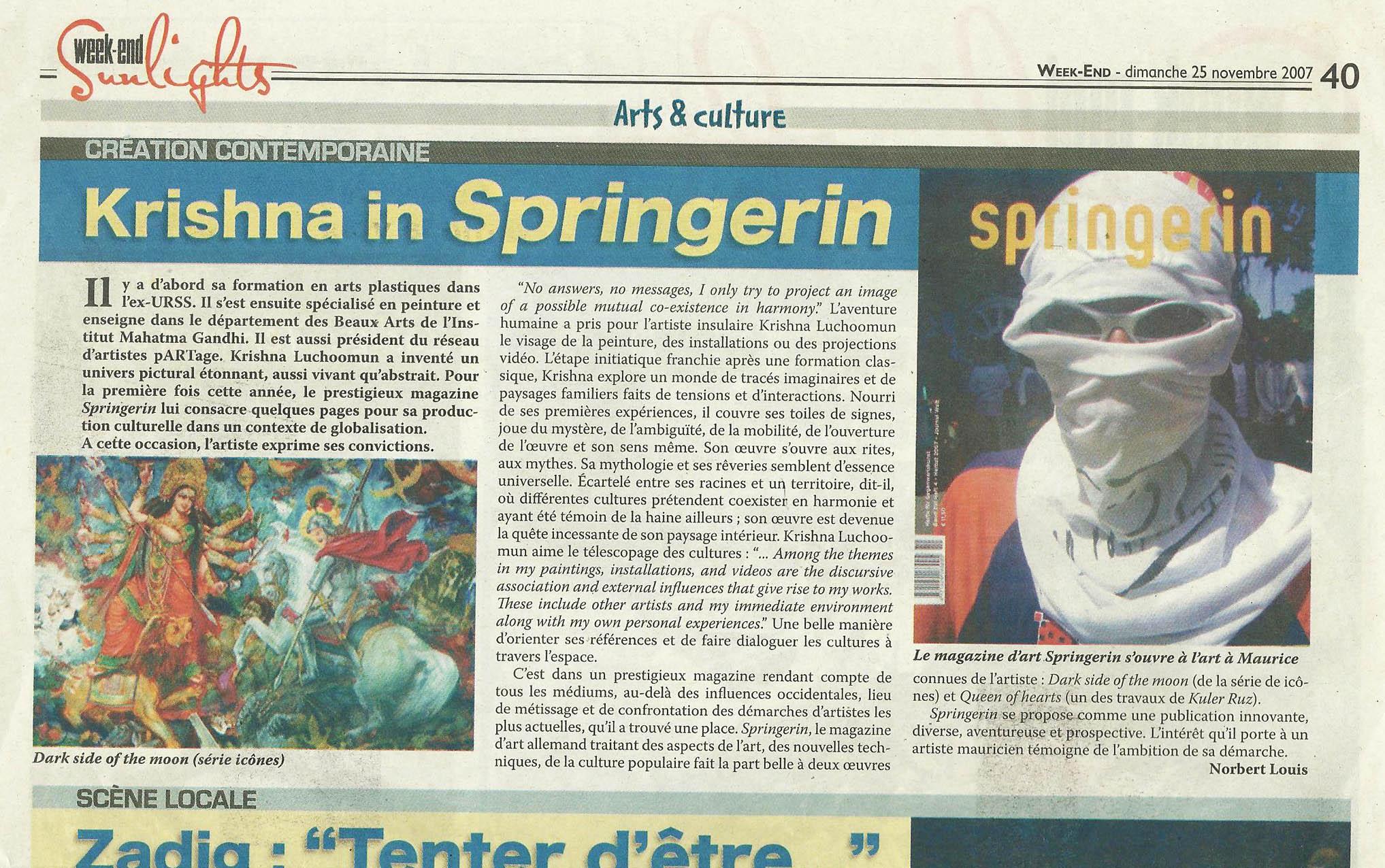 Krishna in Springerin, Week-End, 25 November 2007