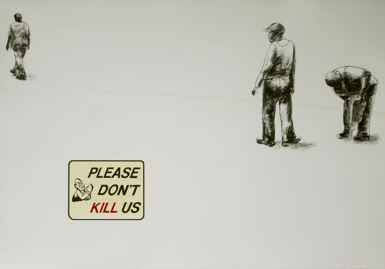 <em>5IK5</em>. 2007. Charcoal & hand print on paper. 70x100cm