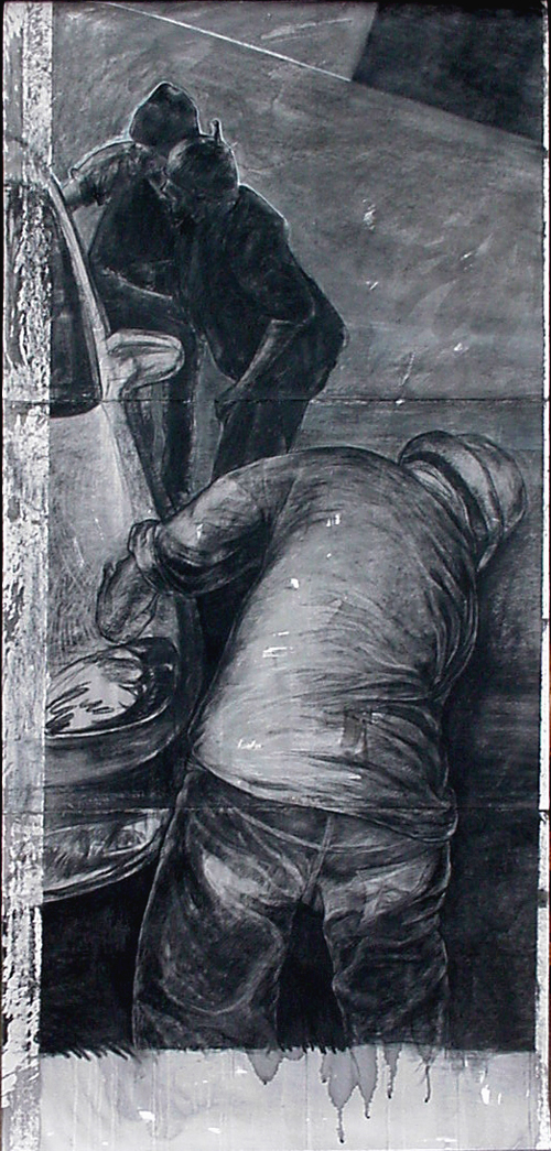 <em>Car wash I</em>. 2001. Charcoal & ink on paper. 210x100cm