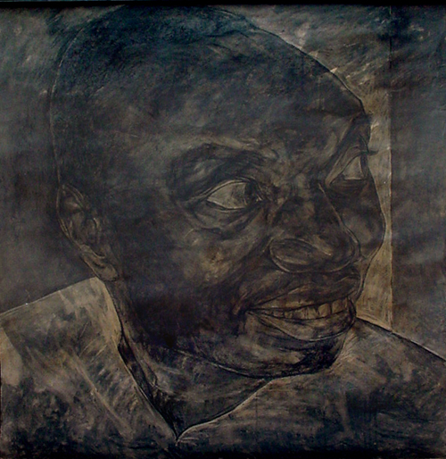 <em>Portrait I</em>. 2001. Charcoal & ink on brown paper. 120x120cm