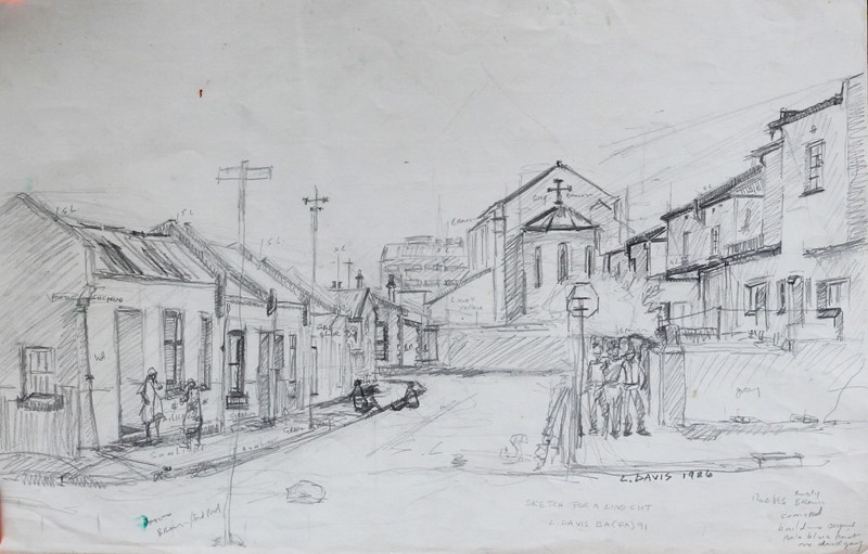 Sketch for Linocut, 1986. Pencil drawing, 50 x 31.5 cm. Artist's collection. (Photo: S Williams)