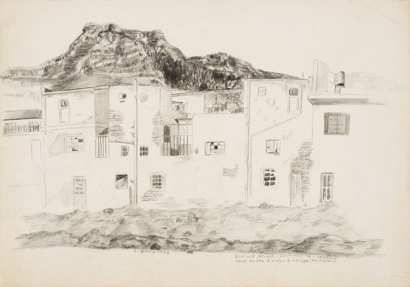 Eckard Street - back view of crescent next to the Avalon Bioscope, 1982. Pencil on paper, 41 x 59 cm (Photo: Mike Hall)