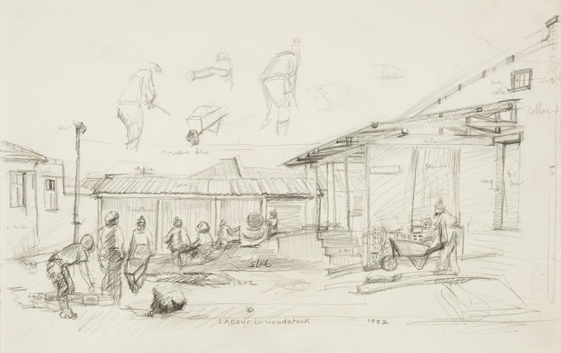 Labour in Woodstock, 1982. Pencil on paper, 31.5 x 50 cm (Photo: Mike Hall)