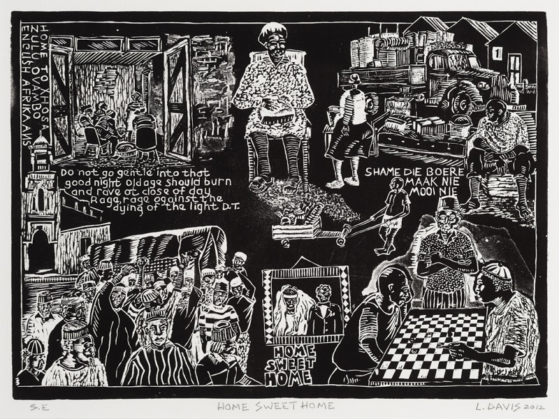 Home Sweet Home, 2012. Linocut on paper, 28.5 x 39.3 cm (Photo: Mike Hall)