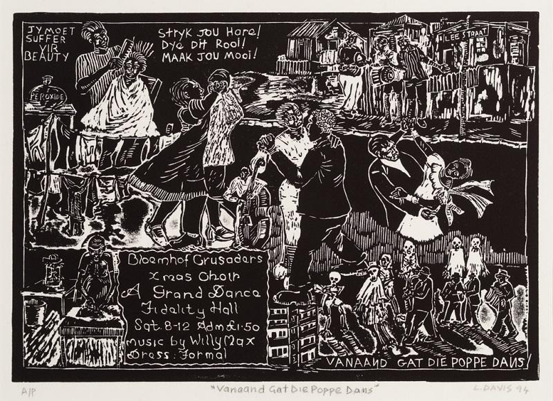Vanaand gat die Poppe Dans, 1994. Linocut on paper, 27 x 39 cm (Photo: Mike Hall)