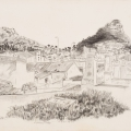 A view of D6, 1984. Pencil on paper, 37.4 x 58 cm (Photo: Mike Hall)