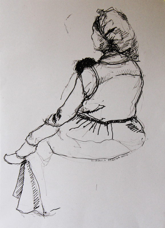 Ma Gladys and Her Grandchil, 2014. Ink and pencil on paper, 50 x 35 cm. (Photo: S Williams)