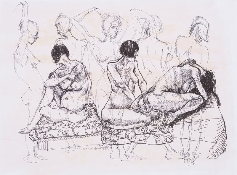 Female Nude Study, 2014. Pen and ink on paper, 42 x 59 cm (Photo: Mike Hall)