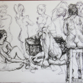 Nude Studies, 2013. Ink on cartridge paper, 38 x 53 cm (Photo: S Williams)