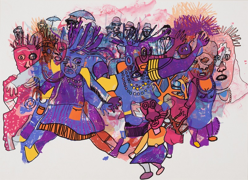 Masks 5 (from the Maskerade series), 1994 – 2009. Mixed media on paper, 69.5 x 88.5 cm (Photo: Mike Hall)