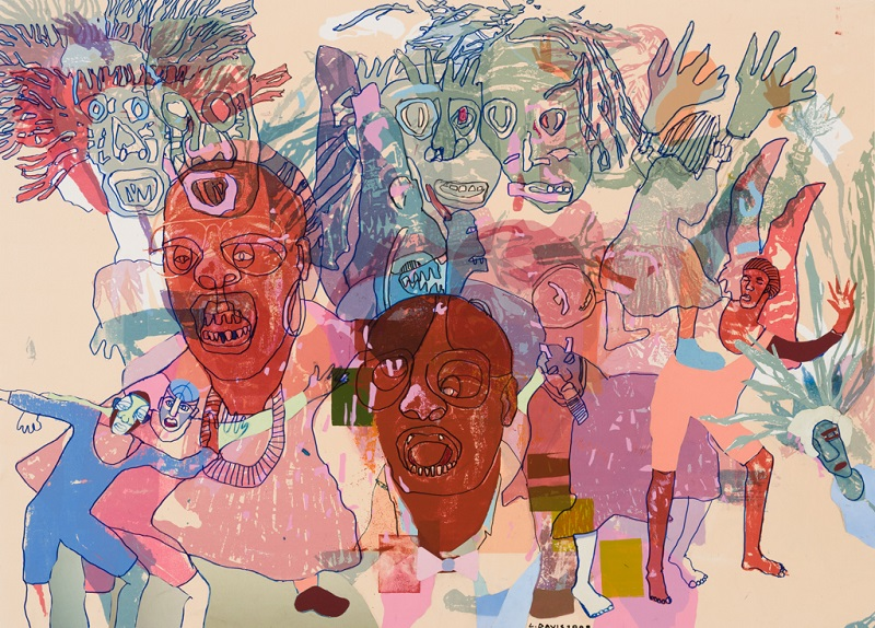 Masks 3 (from the Maskerade series), 1994 – 2009. Mixed media on paper, 69.5 x 88.5 cm (Photo: Mike Hall)