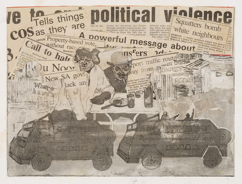 Political Violence, c. 1994. Etching and collage on paper, 22.3 x 29.8 cm (Photo: Mike Hall)