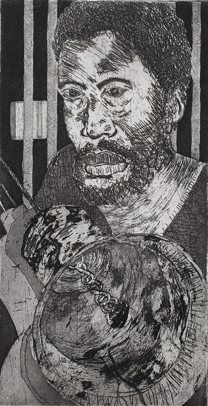 For Whom the Bell Tolls, c. 1994. Etching on paper, 20 x 10.5 cm (Nigel Pamplin)