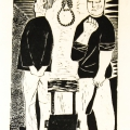 Interrogation, 1982. Linocut on paper, 23.5 x 37 cm
