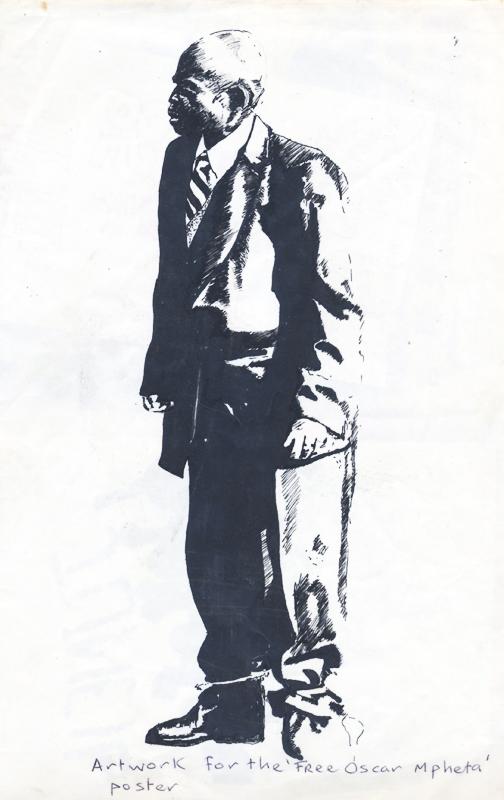 rtwork for the Free Oscar Mpheta poster, c. 1985. Ink on paper, 29.5 x 21 cm