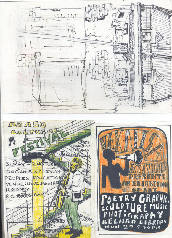 Artwork for Vakalisa exhibition invite, c. 1988 and Azazo Cultural festival poster, c. 1985. Pen and pencil on paper, 42 x 29.5 cm