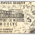 Artwork for CCAWUSA Benefit invite, c. 1989. 21 x 14.8 cm