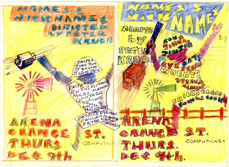 Artwork for CAP drama group production poster, c. 1984