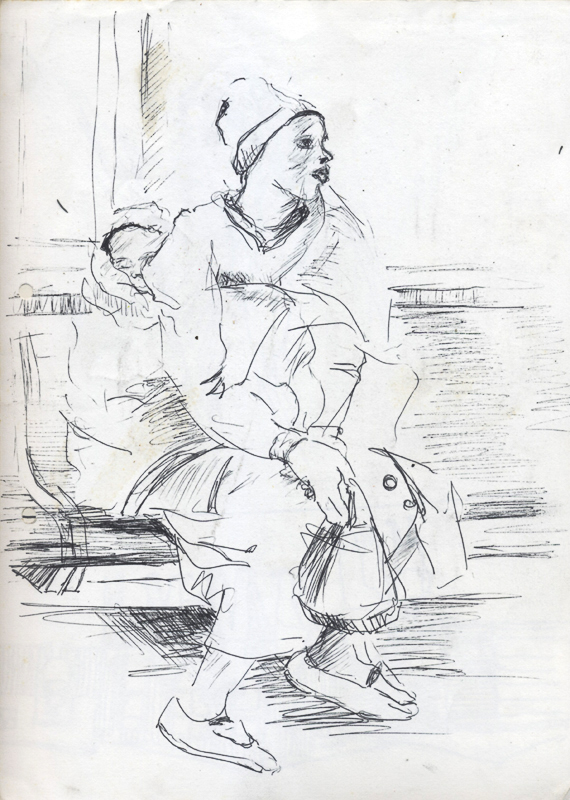 Woman and child, c. 1982 - 1986. Pen on paper, 29.7 x 21 cm (Photo: S Williams)