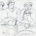 Three Women Wearing Berets, c. 1982 – 1986. Pencil on paper, 21 x 14.8 cm