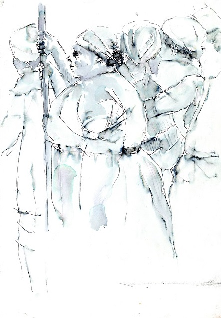 Figures Standing on the Train, c. 1986. Ink wash on paper, 21 x 29.5 cm