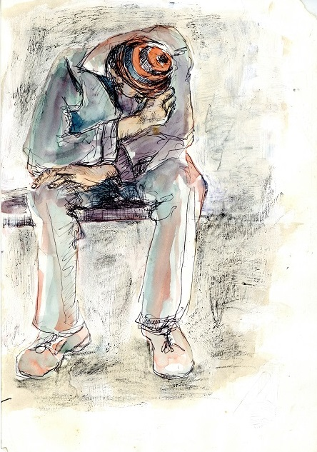 Asleep on the Train, c. 1990. Pen and watercolour on paper, 29.7 x 21 cm