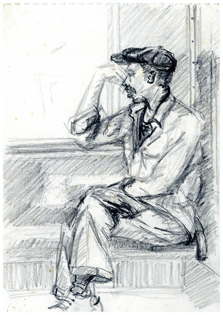 Lost in Thought, c. 1982 – 1986. Pencil on paper, 29.5 x 21 cm