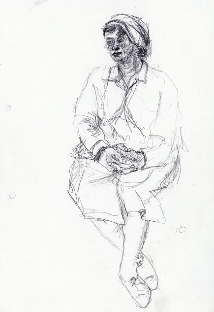 Female Figure on train, c. 1982 – 1986. Ballpoint on paper, 21 x 29.7 cm