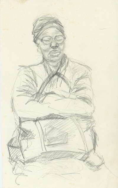 Woman with Bag, c. 1982 – 1986. Pencil on paper, 21 x 29.7 cm
