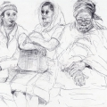 Three Women on a Train, c. 1982 – 1986. Pencil and pen on paper, 21 x 29.7 cm