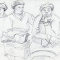Three Women Wearing Berets, c. 1982 – 1986. Pencil on paper, 21 x 14.8 cm