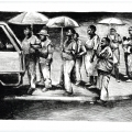 Ricky Dyaloyi, <em>Taxi rank 1</em>, 2018. Lithograph on paper