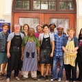 Lithography workshop participants and facilitators (left to right): Manfred Zylla, Steven Inggs, Andrea Steer, Lionel Davis, Mario Pissarra, Phillip Raath, Ricky Dyaloyi, Xolile Mtakatya, Patricia De Villiers & Ayesha Price (Photo: Scott Eric Williams)