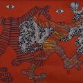Headless world. 2017. Fabric collage & paint on canvas. 110x117cm