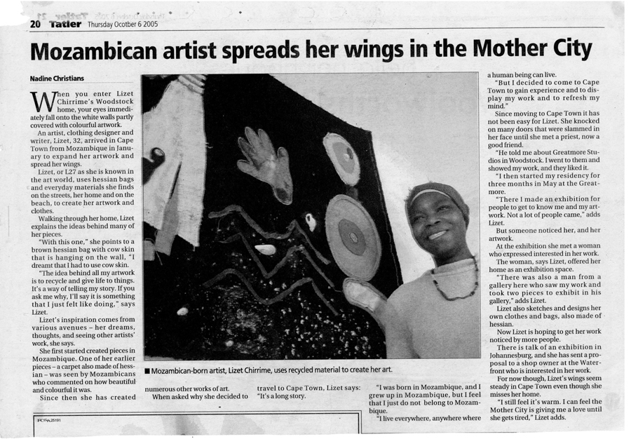 Mozambican artist spreads her wings in the Mother City