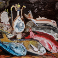 Still Life with Javanese Fish, oil on board, 60x80cm